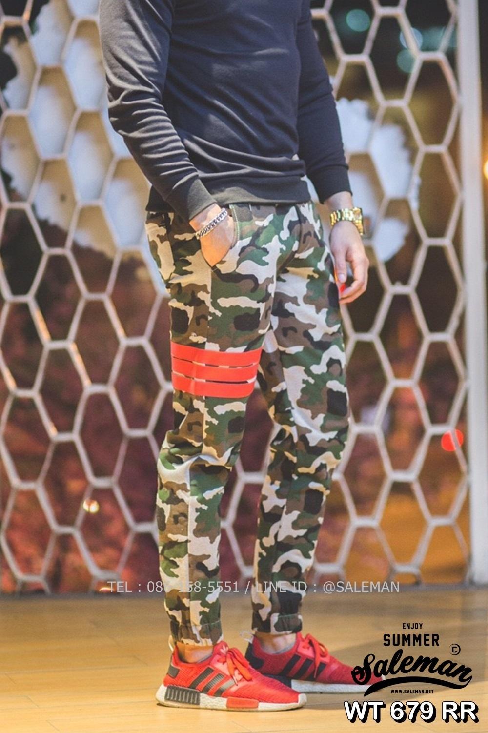 กางเกง Jogger ขาจั๊ม พรีเมี่ยม ผ้า วอร์ม รหัส WT 679 RR สีทหาร แถบ แดง