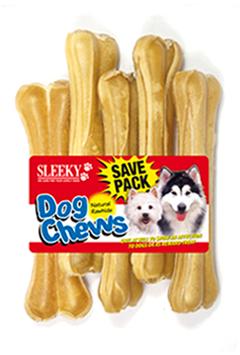 ขนมขัดฟันสุนัข SLEEKY หนังวัวขัดฟันหมา รูปกระดูกอัดแท่ง ขนาด 6.5 นิ้ว - แพ็คใหญ่