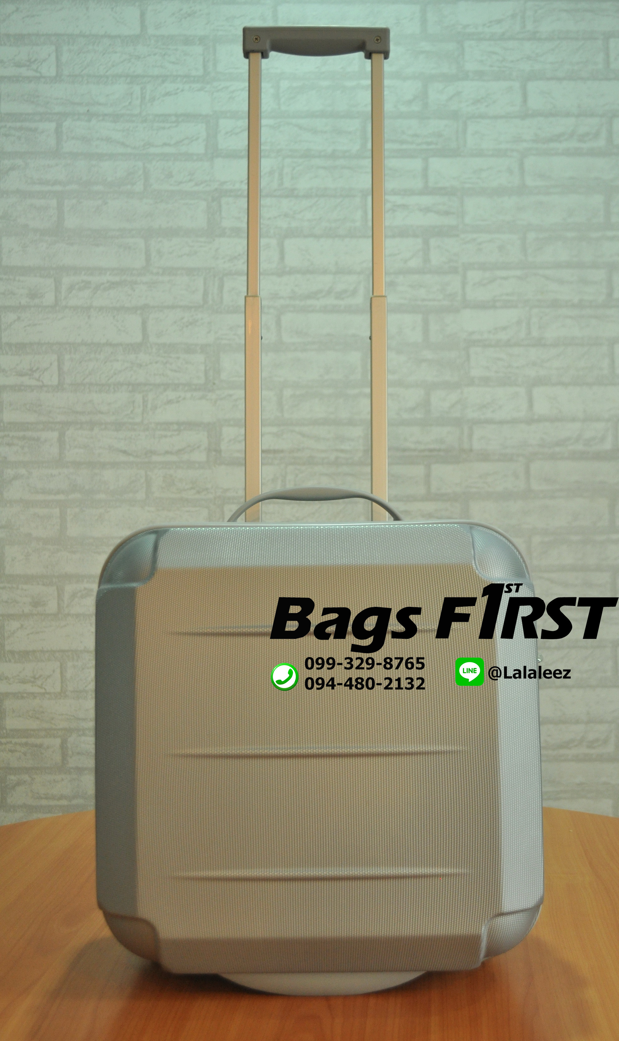 กระเป๋าเดินทางล้อลาก 2 ล้อ ขนาด 16 นิ้ว สีเงิน ขีดห่าง ผิวหยาบ