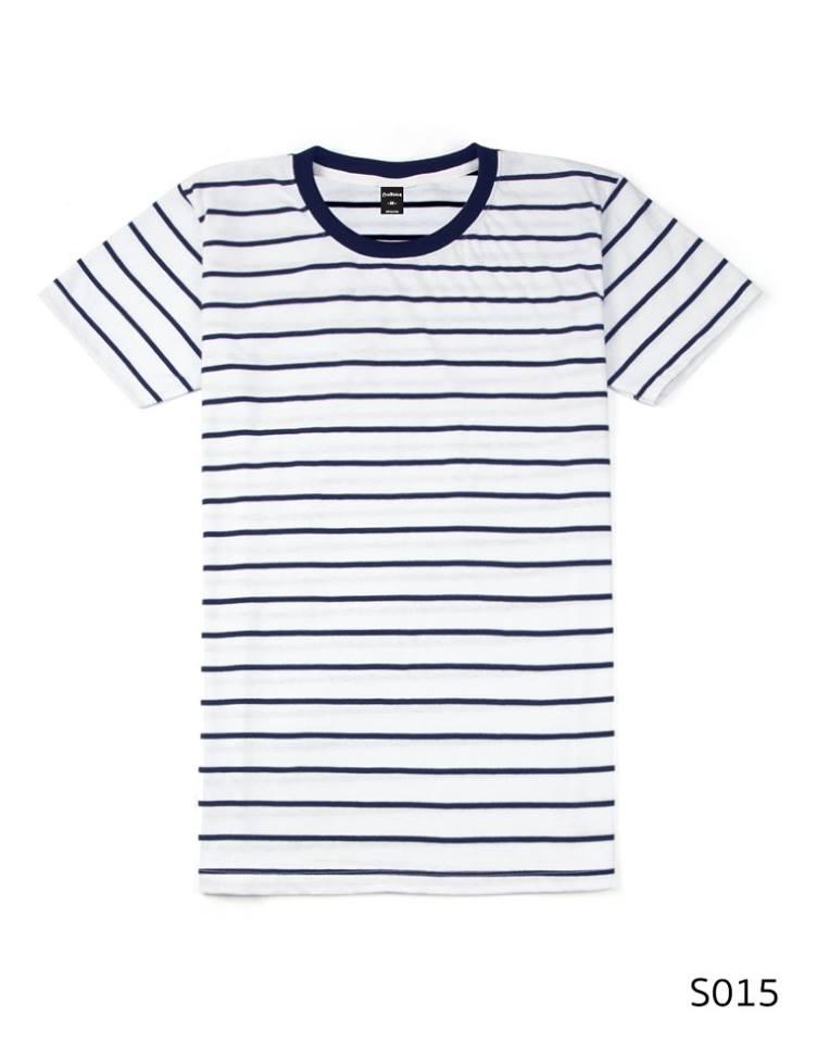 เสื้อยืดคอกลมลายทาง S015 (สีพื้นขาวริ้วกรม)