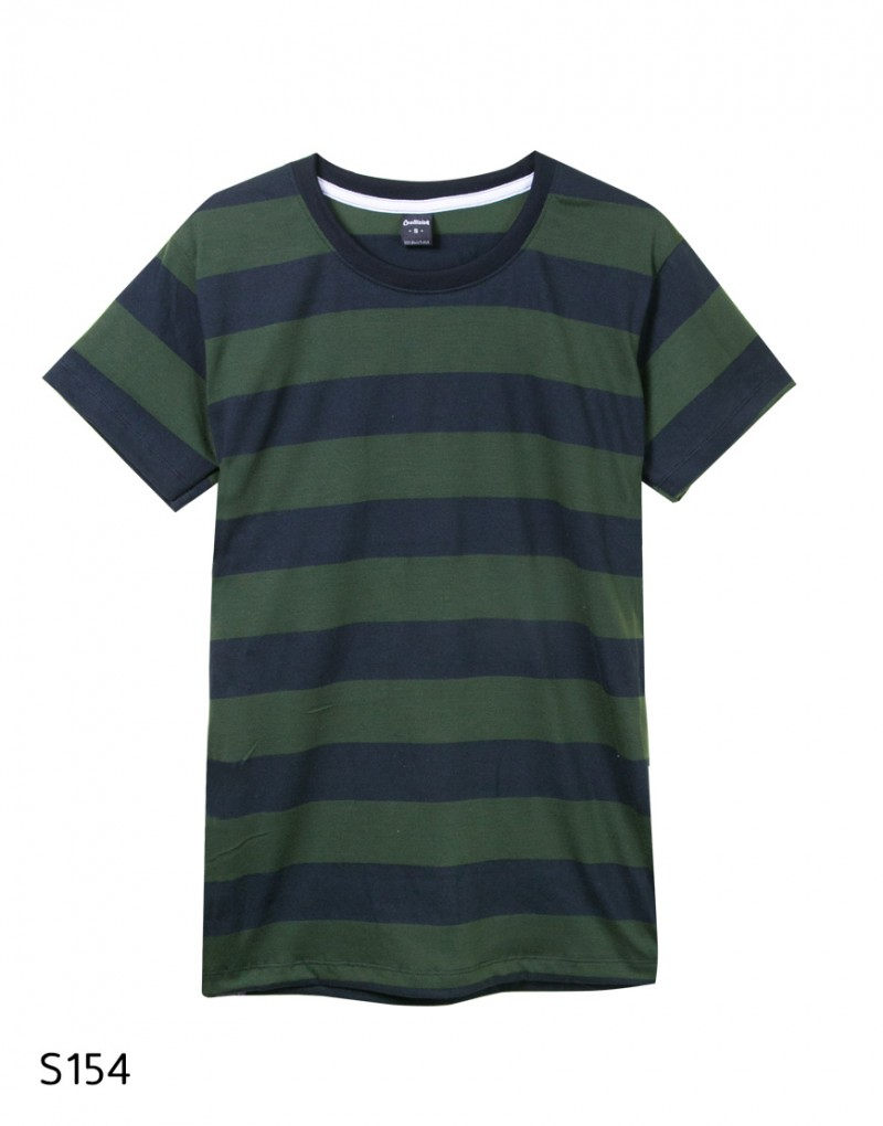 เสื้อยืดคอกลมลายทาง S154 (สีเขียวดำ soldier)