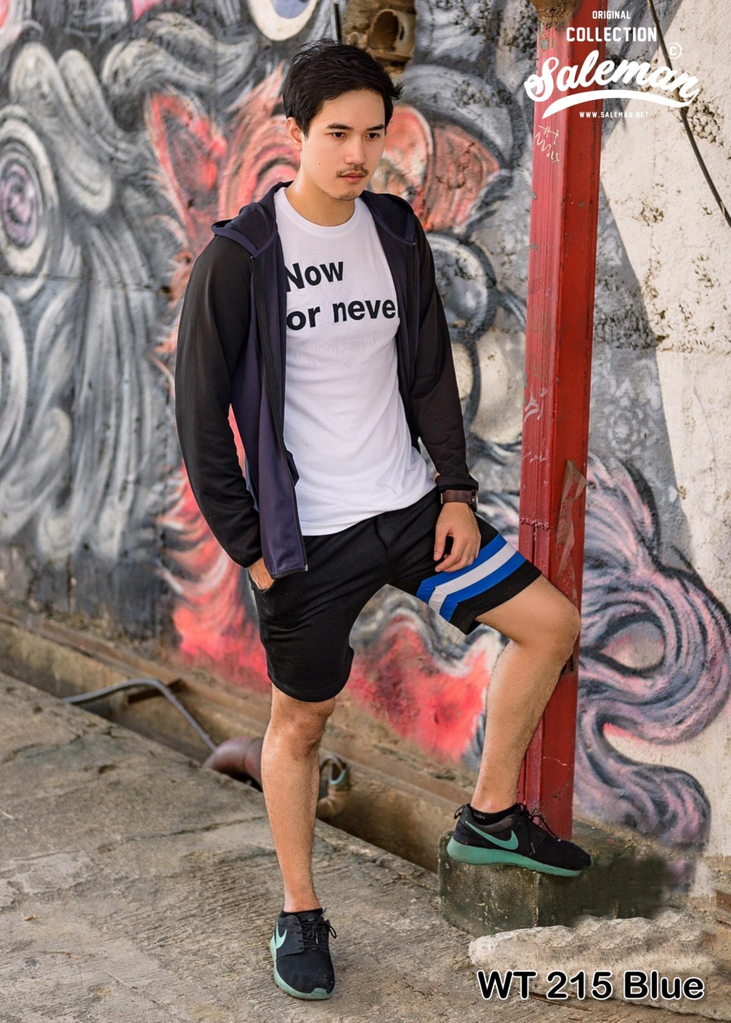 กางเกงขาสั้น พรีเมี่ยม ผ้า วอร์ม รหัส WT215 ฺBlue สีดำ แถบ ฟ้า