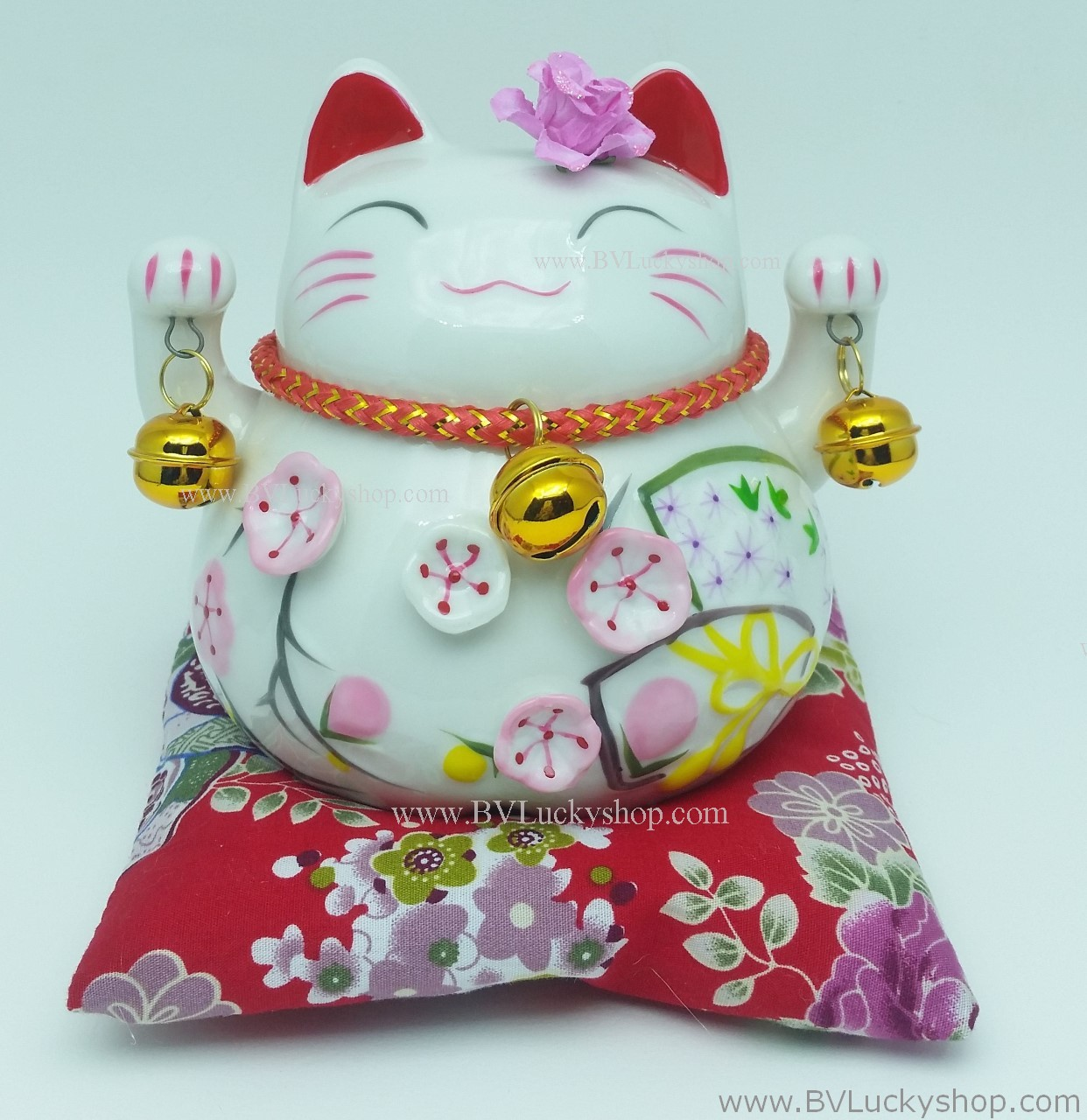 แมวอ้วน แมวกวัก แมวนำโชค สูง 4.5 นิ้ว กวัก2มือ [A0501]