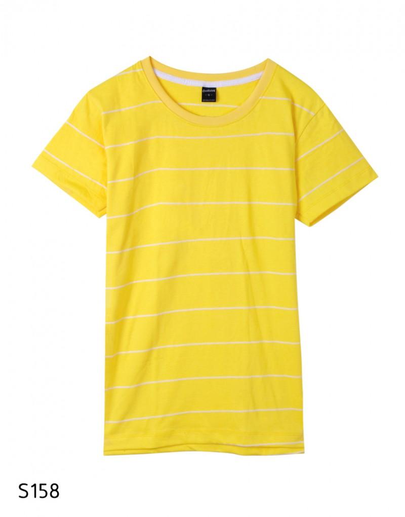 เสื้อยืดคอกลมลายทาง S158 (สีพื้นเหลืองเส้นขาว)