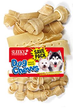 ขนมขัดฟันสุนัข SLEEKY หนังวัวขัดฟันหมา รูปกระดูกคละแบบ- แพ็คใหญ่