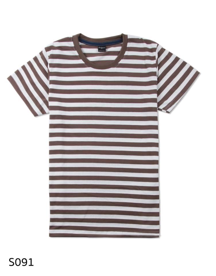เสื้อยืดคอกลมลายทาง S091 (สีขาวน้ำตาลคุกกี้)