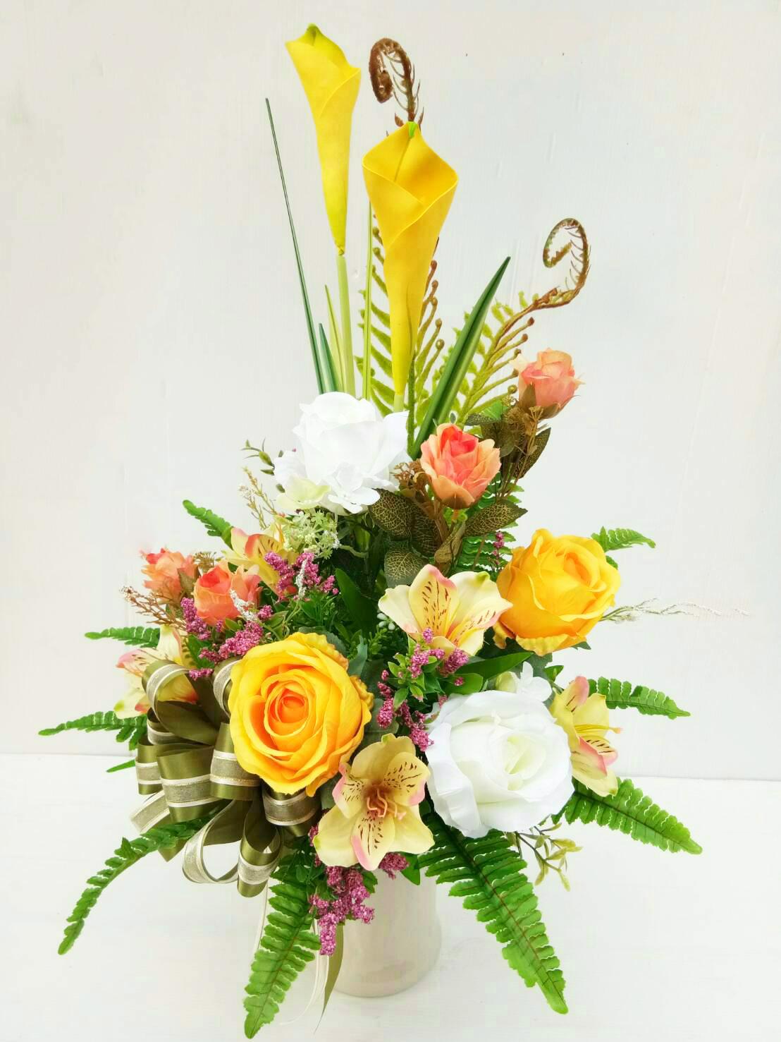 แจกันดอกไม้ประดิษฐ์กลางเหลือง รหัส 4014