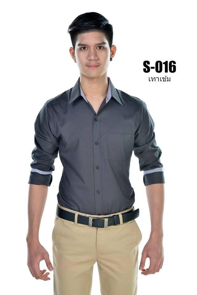 เสื้อเชิ้ตผู้ชายสีเทาเข้ม S-016