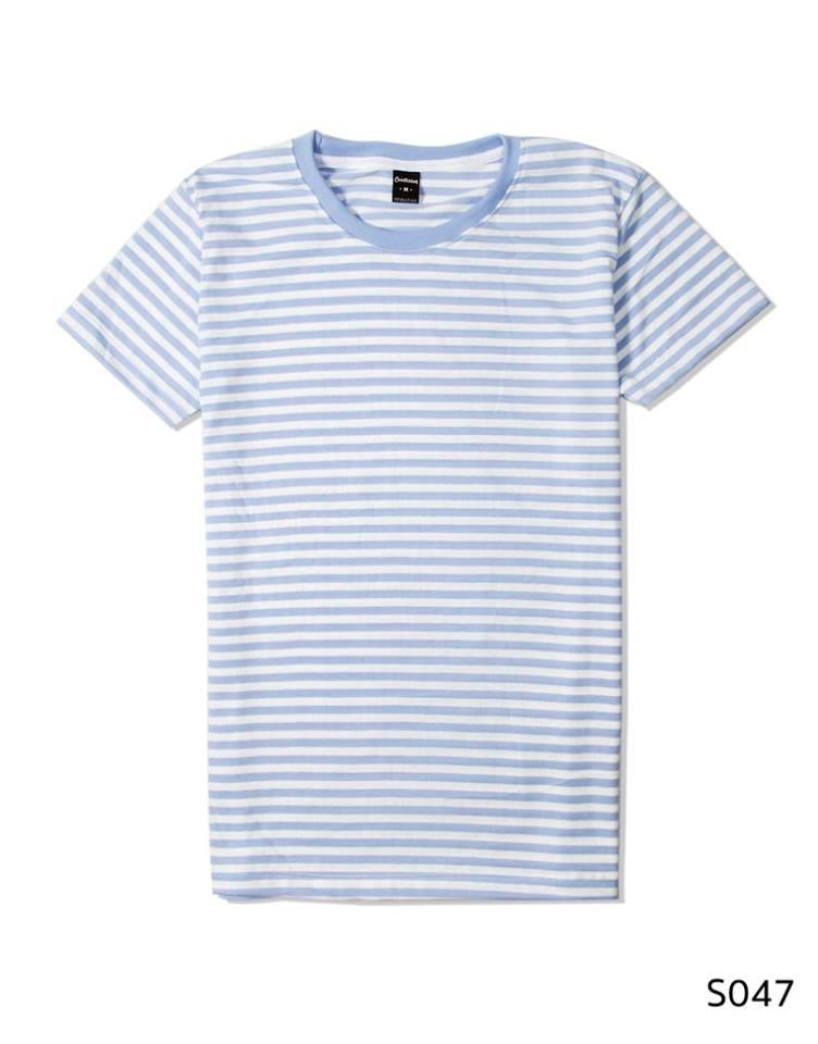 เสื้อยืดคอกลมลายทาง S047 (สีขาวฟ้าเล็ก)