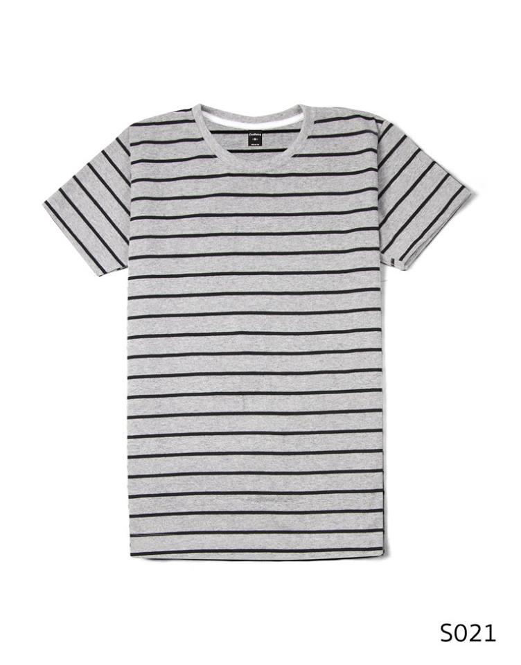 เสื้อยืดคอกลมลายทาง S021 (สีพื้นเทาริิ้วดำ)