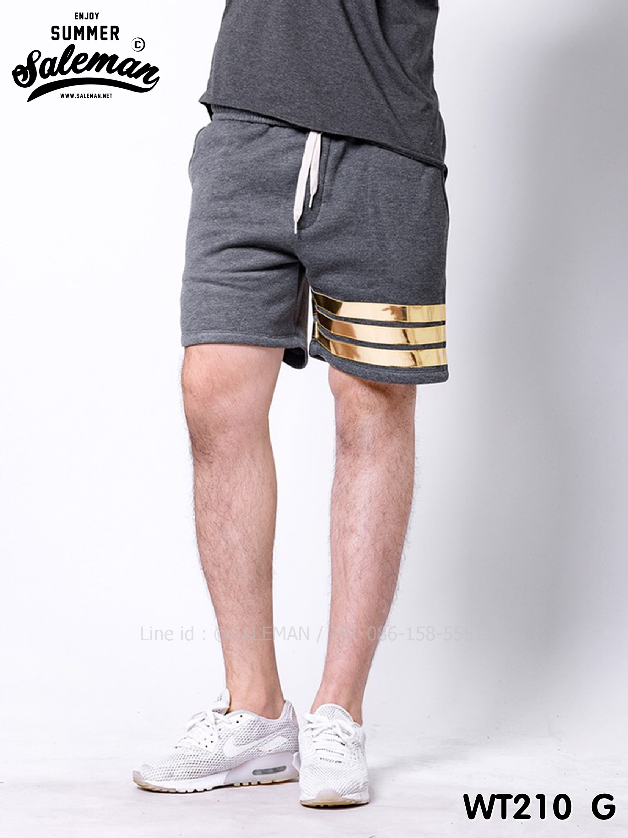 กางเกงขาสั้น พรีเมี่ยมวอร์ม รหัส WT210 G สีเทาเข้ม แถบทอง