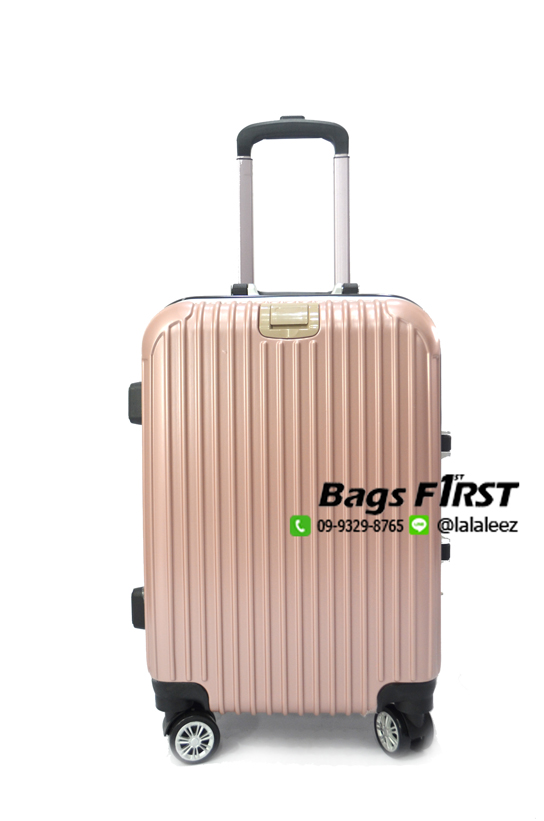 กระเป๋าเดินทางขอบอลูมิเนี่ยม สีชมพู ขนาด 20 นิ้ว