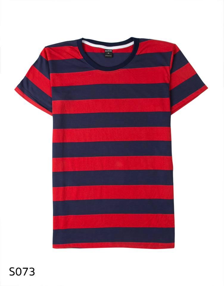 เสื้อยืดคอกลมลายทาง S073 (สีแดงใหญ่ ริ้วน้ำเงิน)