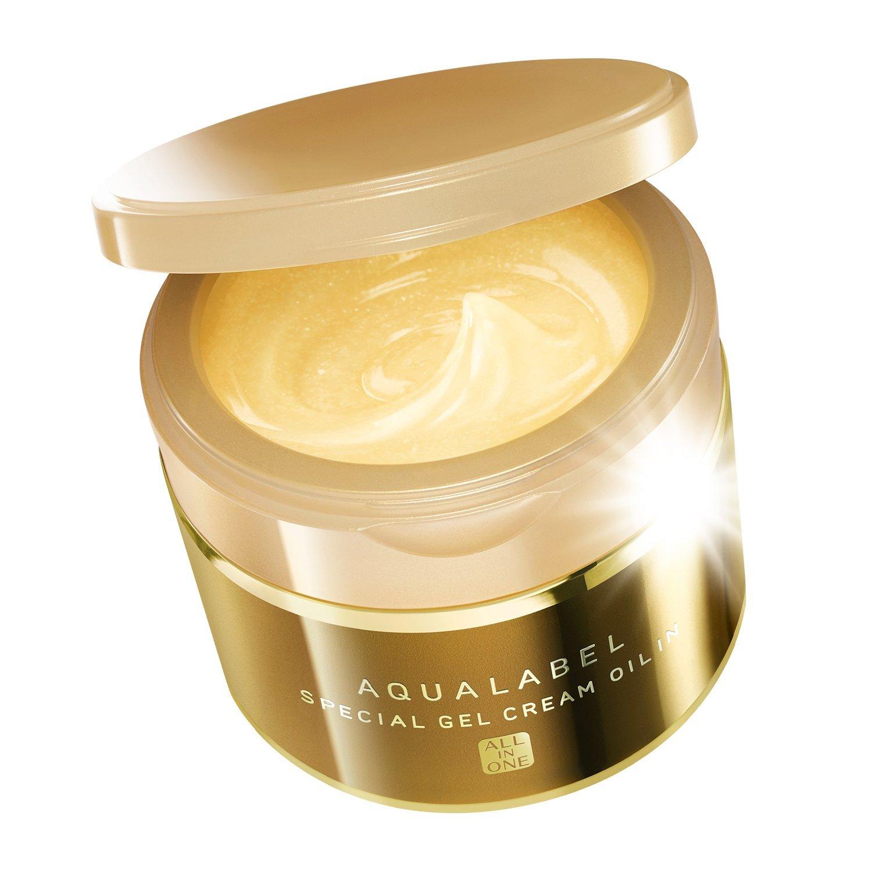 Shiseido AQUALABEL Special Gel Cream Oil In 90 g. ครีมบำรุงกระปุกทอง 5 in 1 รวมทุกอย่างไว้ในกระปุกเดียวค่ะ