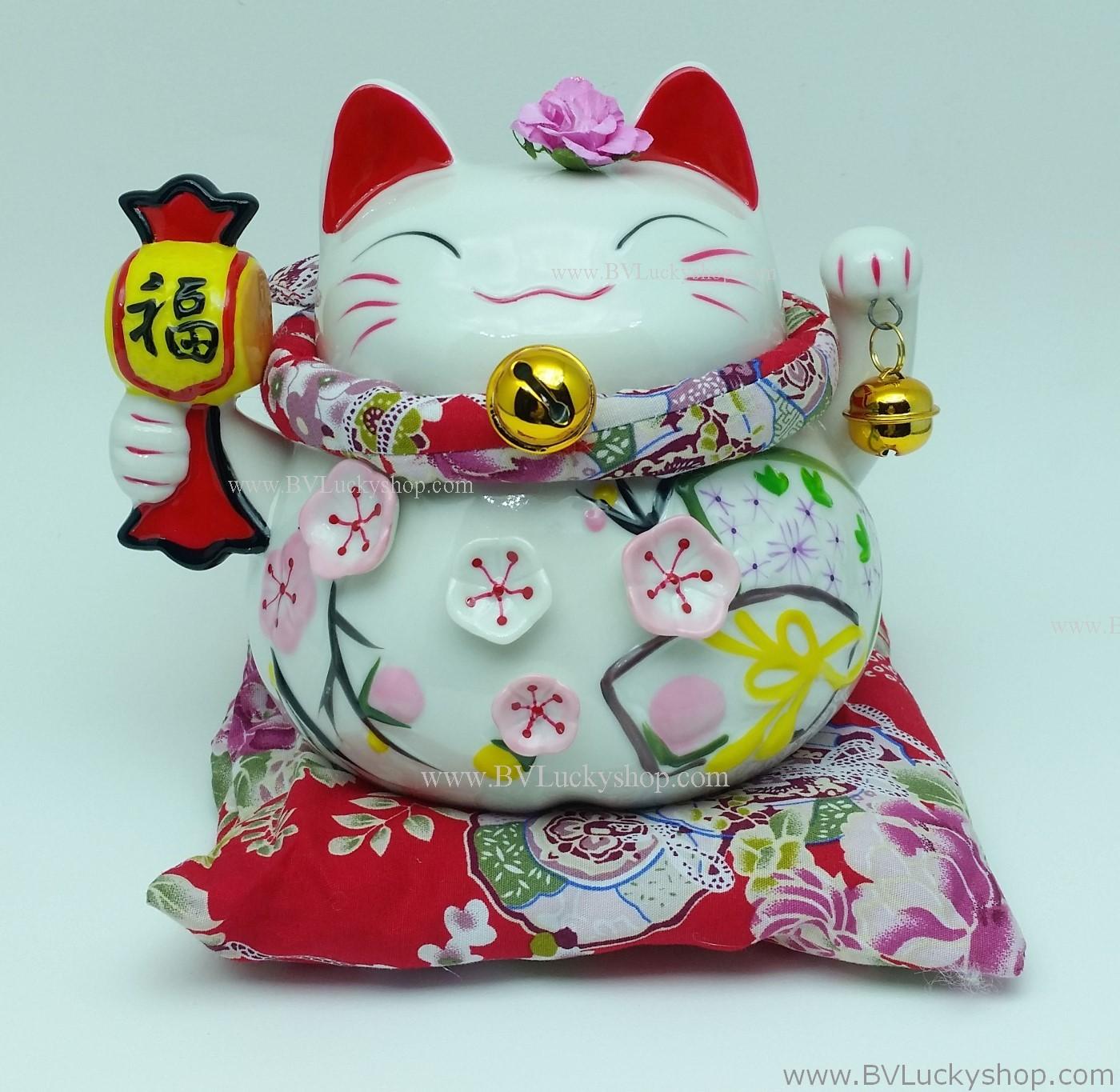 แมวอ้วน แมวกวัก แมวนำโชค สูง 5 นิ้ว ถือค้อนให้โชคลาภ [A0603]