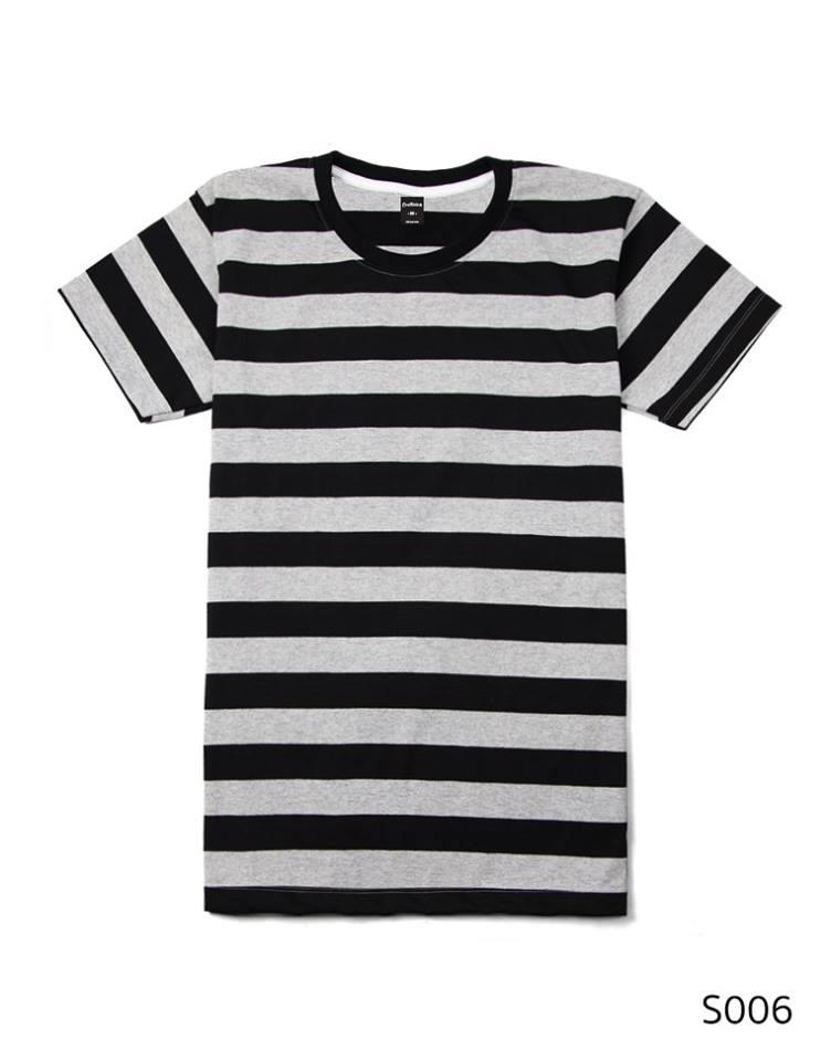 เสื้อยืดคอกลมลายทาง ริ้ว1นิ้ว S006 (สีเทาดำ)