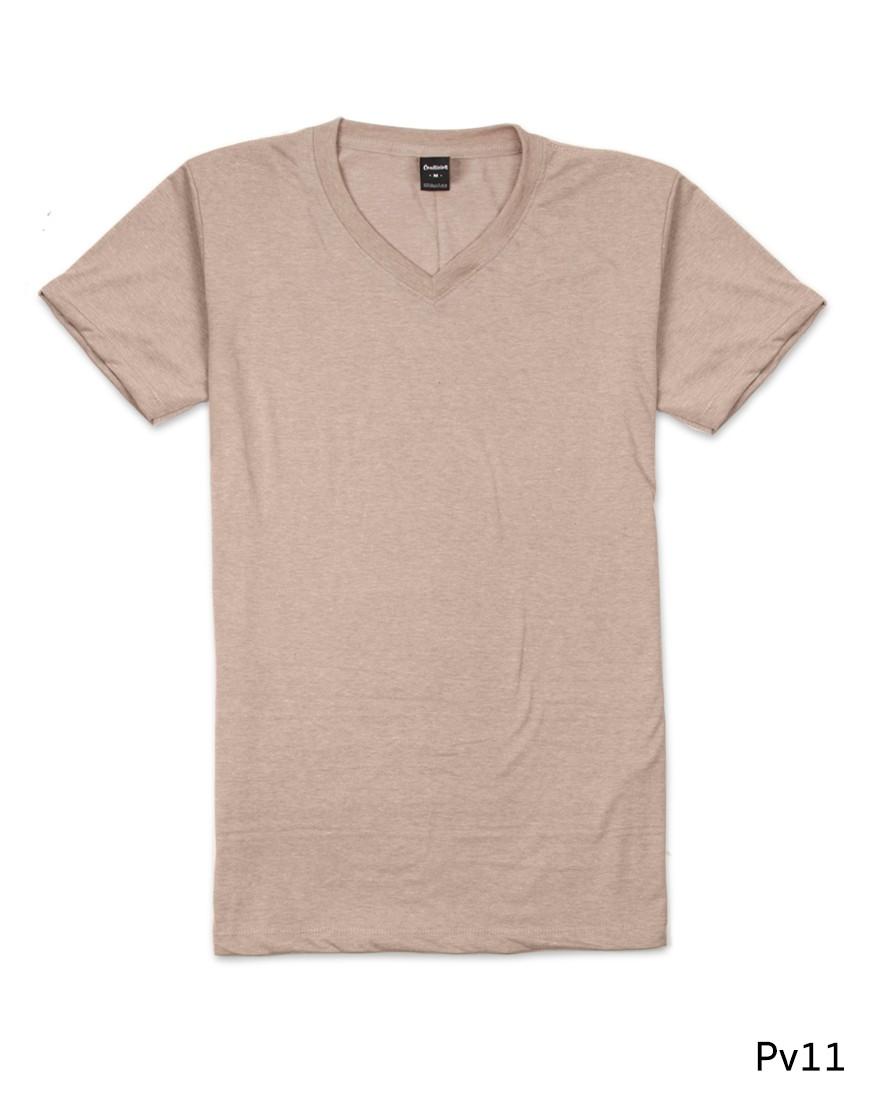 เสื้อยืดคอวีเรียบ Pv11 สีเนื้อ