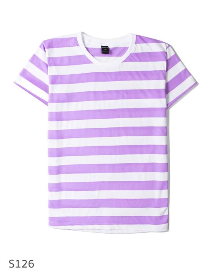 เสื้อยืดคอกลมลายทาง S126 (ริ้ว1นิ้ว สีม่วงอ่อน)