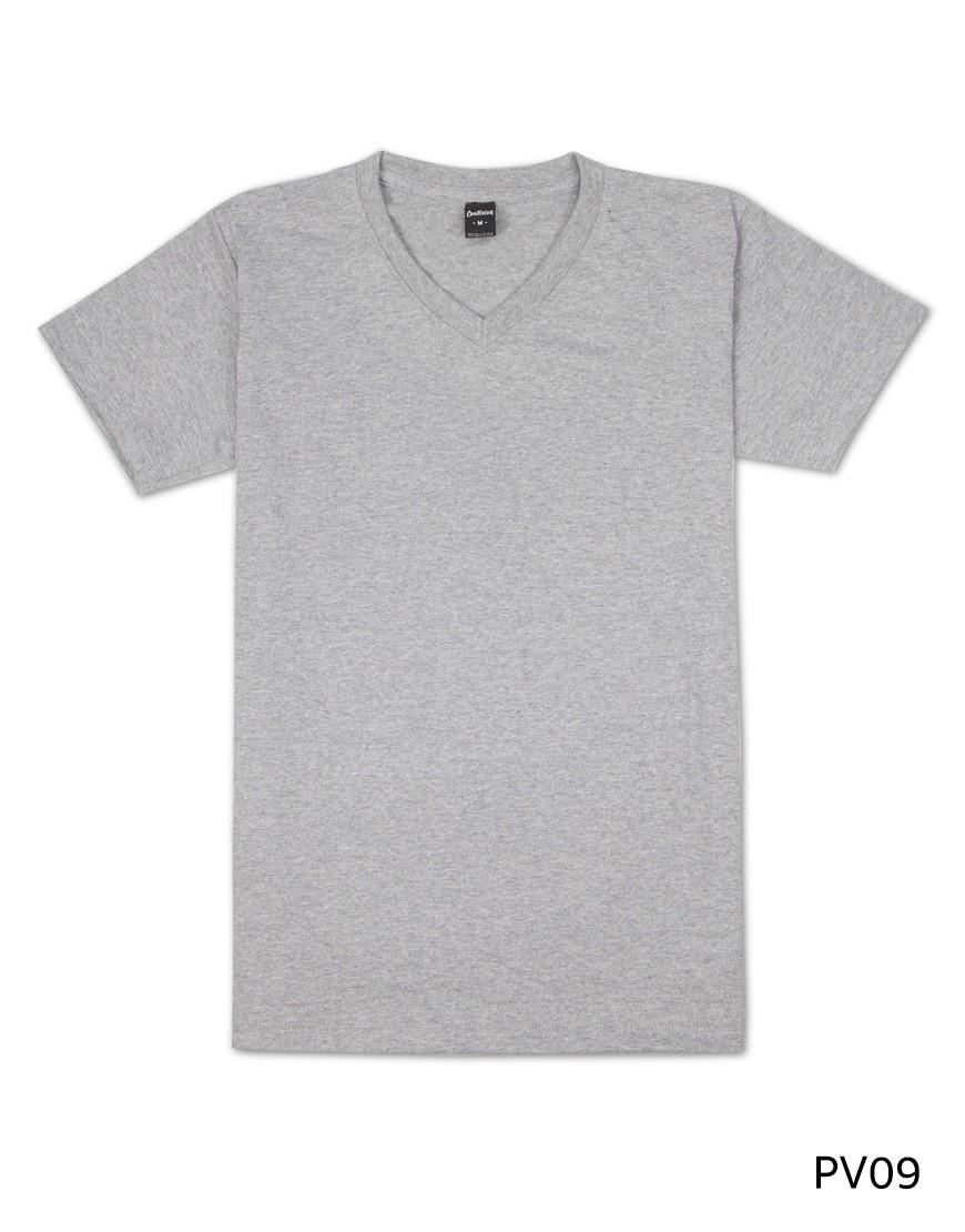 เสื้อยืดคอวีเรียบ Pv09 สีเทา