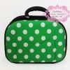 กระเป๋าเดินทางราคาถูก ขนาด 12 นิ้ว สีเขียวลายจุด