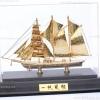 เรือสำเภา เรือใบ ทองเหลือง ชุบทอง 24K พร้อมตู้ Size S (ขายส่งยกลัง - Pre order)
