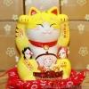 แมวกวัก แมวนำโชค สูง7.5นิ้ว กวัก2มือ [802Y] - สีเหลือง