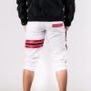 กางเกงสามส่วน พรีเมี่ยม ผ้า COTTON รหัส SST 322 JAP R สีขาว แถบแดง