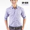 เสื้อเชิ้ตผู้ชายลายสก๊อตสีม่วง SP-020