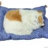 """ตุ๊กตาแมวนอนหลับ มีเสียงร้อง """"เมี้ยวๆๆ I love u"""" (เมื่อไปตบๆที่ตัวแมว) ขนาด 13นิ้วx10นิ้ว [catmeow-L1]"""