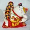 แมวนำโชค แมวกวัก ยาว 4นิ้ว นอนถือเหรียญทอง และมีถุงสมบัติที่หน้าท้อง [35312]