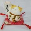 แมวกวัก แมวนำโชค สูง 4 นิ้ว กวักมือขวา (สีขาว/เหลือง) [SB5018]