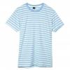เสื้อยืดคอกลมลายทาง S162 (สีฟ้าอ่อนฟอก)