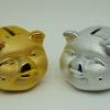 หมูคู่ สีเงินและทอง กระปุกออมสิน - เซรามิค [pigx2-sav]