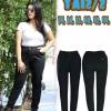 กางเกงยีนส์ไซส์ใหญ่เอวสูง เอวยางยืด มีเชือกดึงได้ สีดำ บล็อกใหญ่ มี SIZE 34