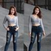 กางเกงยีนส์เอวสูงไซส์ใหญ่ อัดยับ แต่งขาดเก๋ๆใส่สวย ฟอกหนวดหน้าขา มี SIZE S,M,L,XL 34 36 38 40