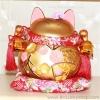 แมวอ้วน แมวกวัก แมวนำโชค สูง 8 นิ้ว กวัก2มือ - สีทองด้าน [A0808-G]