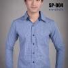 เสื้อเชิ้ตผู้ชายลายตารางสีน้ำเงิน SP-004