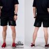 กางเกงขาสั้น พรีเมี่ยม ผ้า COTTON รหัส SST 215 B สีดำ แถบดำ