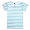 เสื้อยืดคอกลมลายทาง S160 (สีขาวเส้นฟ้าเเจ่ม)