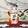 แมวกวัก แมวนำโชค สูง 6.5 นิ้ว กวักโชคลาภเงินทอง สีเหลืองน้ำตาล [SC9003]