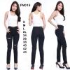 กางเกงยีนส์เอวสูงขาเดฟ สีดำ กรีดขาดหน้าขาสวยๆผ้าคอตตอลยืด สวยมากๆ มี SIZE S M L XL 34 36 38 40 42 44