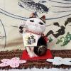 แมวกวัก แมวนำโชค สูง 6.5 นิ้ว กวักโชคลาภเงินทอง สีขาวดำ [SC9006]