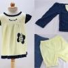 ชุดเสื้อลายผึ้ง + กางเกง (สีน้ำเงิน)