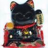 แมวกวัก แมวนำโชค สีดำ สูง3.5นิ้ว ถือลูกแก้ว และถือเหรียญทอง [5024]