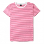 เสื้อยืดคอกลมลายทาง S136 (สีชมพูฟอกริ้วขาวเล็ก)