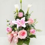 แจกันดอกไม้ประดิษฐ์กลางชมพู รหัส 4015