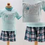 ชุดเสื้อลายซัมเมอร์+กางเกงลายสก๊อต