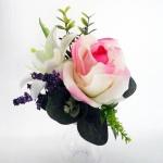 แจกันดอกไม้ประดิษฐ์เล็กกุหลาบชมพูขาว รหัส 3097