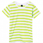 เสื้อยืดคอกลมลายทาง S148 (สีพื้นขาวเเถบเขียวเลม่อน)