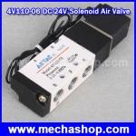 โซลินอยด์วาล์ว ปิดเปิดลม Solenoid Air Valve 5port 2position BSP 4V110-06 DC 24V